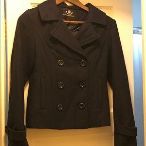 Navy blue wool pea coat